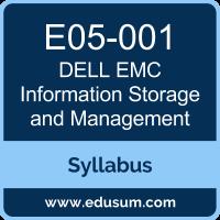 E05 001 Information Storage And Management Emcisa Exam Syllabus