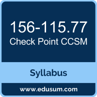 Check Point CCSM Certification Syllabus and Study Guide
