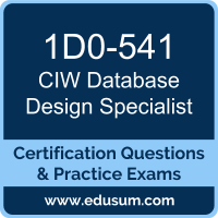 Database Design Specialist Dumps, Database Design Specialist PDF, 1D0-541 PDF, Database Design Specialist Braindumps, 1D0-541 Questions PDF, CIW 1D0-541 VCE