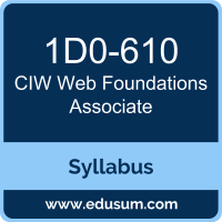 Web Foundations Associate PDF, 1D0-610 Dumps, 1D0-610 PDF, Web Foundations Associate VCE, 1D0-610 Questions PDF, CIW 1D0-610 VCE