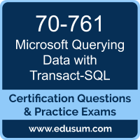 Querying Data with Transact-SQL Dumps, Querying Data with Transact-SQL PDF, 70-761 PDF, Querying Data with Transact-SQL Braindumps, 70-761 Questions PDF, Microsoft 70-761 VCE, Microsoft MCSA SQL 2016 Database Development Dumps