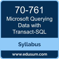 Querying Data with Transact-SQL PDF, 70-761 Dumps, 70-761 PDF, Querying Data with Transact-SQL VCE, 70-761 Questions PDF, Microsoft 70-761 VCE, Microsoft MCSA SQL 2016 Database Development Dumps, Microsoft MCSA SQL 2016 Database Development PDF