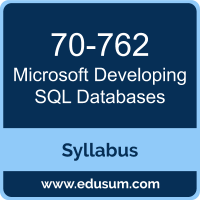 Developing SQL Databases PDF, 70-762 Dumps, 70-762 PDF, Developing SQL Databases VCE, 70-762 Questions PDF, Microsoft 70-762 VCE, Microsoft MCSA SQL 2016 Database Development Dumps, Microsoft MCSA SQL 2016 Database Development PDF