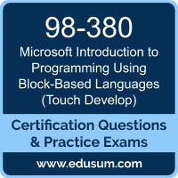 Introduction to Programming Using Block-Based Languages (Touch Develop) Dumps, Introduction to Programming Using Block-Based Languages (Touch Develop) PDF, 98-380 PDF, Introduction to Programming Using Block-Based Languages (Touch Develop) Braindumps, 98-380 Questions PDF, Microsoft 98-380 VCE, Microsoft MTA Introduction to Programming Using Block-Based Languages Dumps