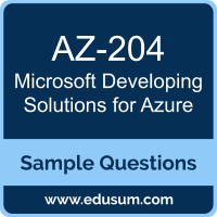 Developing Solutions for Azure Dumps, AZ-204 Dumps, AZ-204 PDF, Developing Solutions for Azure VCE, Microsoft AZ-204 VCE, Microsoft MCA Azure Developer PDF