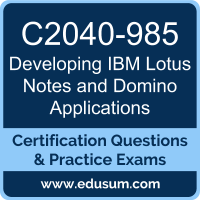 Developing IBM Lotus Notes and Domino Applications Dumps, Developing IBM Lotus Notes and Domino Applications PDF, C2040-985 PDF, Developing IBM Lotus Notes and Domino Applications Braindumps, C2040-985 Questions PDF, IBM C2040-985 VCE