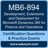 Development, Extensions and Deployment for Microsoft Dynamics 365 for Finance and Operations Dumps, Development, Extensions and Deployment for Microsoft Dynamics 365 for Finance and Operations PDF, MB6-894 PDF, Development, Extensions and Deployment for Microsoft Dynamics 365 for Finance and Operations Braindumps, MB6-894 Questions PDF, Microsoft MB6-894 VCE, MCSA Microsoft Dynamics 365 for Operations Dumps