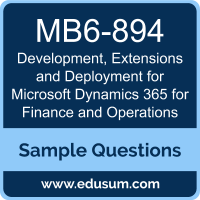 Development, Extensions and Deployment for Microsoft Dynamics 365 for Finance and Operations Dumps, MB6-894 Dumps, MB6-894 PDF, Development, Extensions and Deployment for Microsoft Dynamics 365 for Finance and Operations VCE, Microsoft MB6-894 VCE, MCSA Microsoft Dynamics 365 for Operations PDF