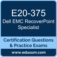 E20-375: Dell EMC RecoverPoint Specialist for Implementation Engineers (DECS-IE)